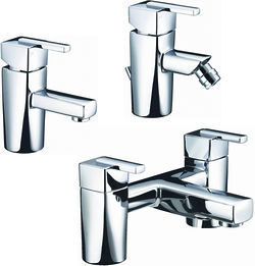 Bristan Qube Basin, Bidet & Bath Filler Taps Pack (Chrome).
