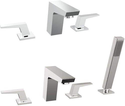 Bristan Sail 3 Hole Basin & 4 Hole Bath Shower Mixer Tap Pack (Chrome).