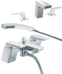 Bristan Sail 3 Hole Basin & Bath Shower Mixer Tap Pack (Chrome).