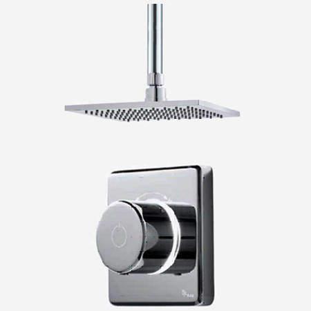 "Digital Showers Digital Shower Valve, Remote & 8"" Square Shower Head (HP)."