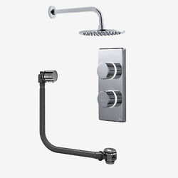 "Digital Showers Twin Digital Shower Pack, Bath Filler & 8"" Round Head (HP)."