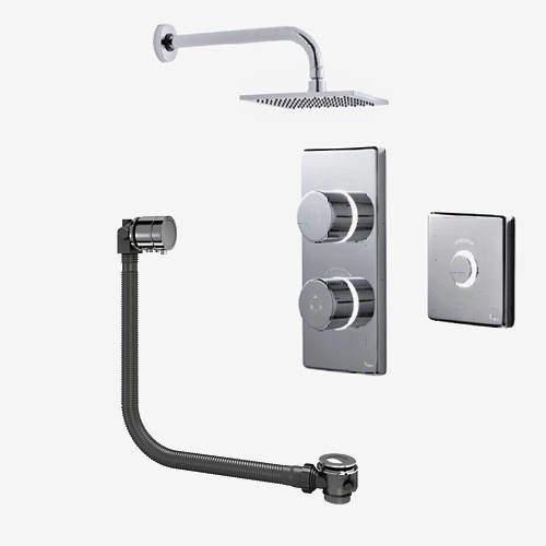 Digital Showers Digital Shower Pack, Bath Filler, Remote & Square Head (HP)