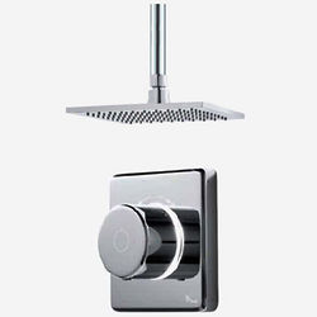"Digital Showers Digital Shower Valve, Remote & 8"" Square Shower Head (LP)."