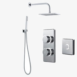 Digital Showers Twin Digital Shower Pack, Square Head, Remote & Kit (LP).