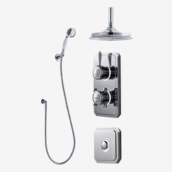 "Digital Showers Twin Digital Shower Pack, Spray Kit, 9"" Head & Remote (HP)."