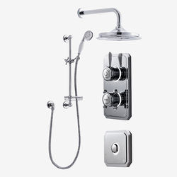 "Digital Showers Twin Digital Shower Pack, Slide Rail, 9"" Head & Remote (HP)."
