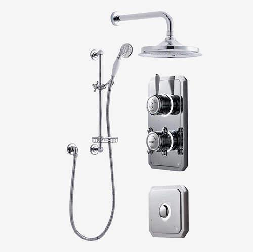 "Digital Showers Digital Shower Pack, Rail, Basket, 9"" Head & Remote (HP)."