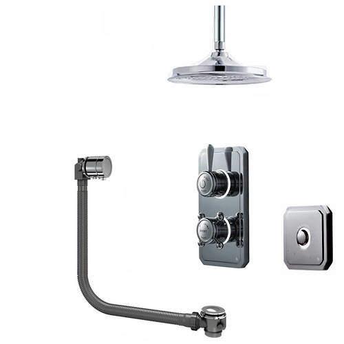 """Digital Showers Digital Shower Pack, Bath Filler, 9"""" Head & Remote (HP)."""