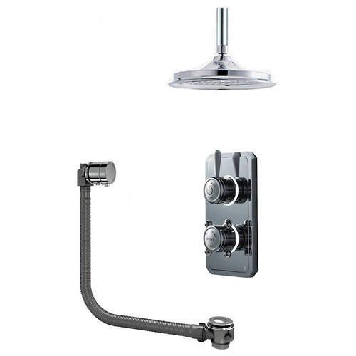 "Digital Showers Twin Digital Shower Pack With Bath Filler & 9"" Head (HP)."