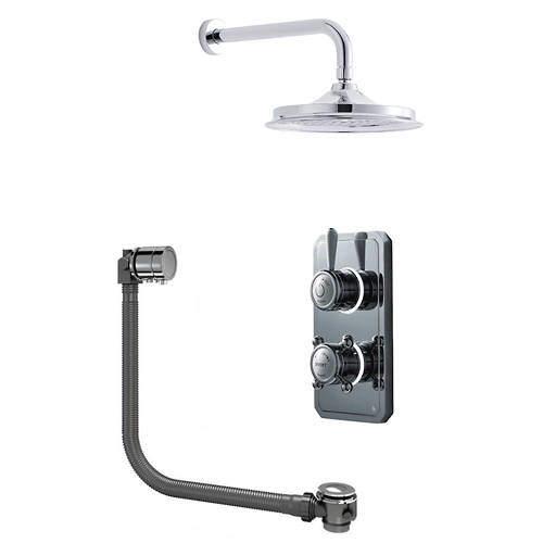 "Digital Showers Twin Digital Shower Pack With Bath Filler & 6"" Head (HP)."