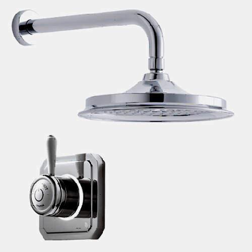 "Digital Showers Digital Shower Valve, Wall Arm & 12"" Shower Head (LP)."