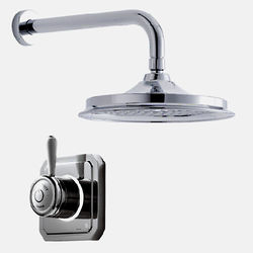 "Digital Showers Digital Shower Valve, Wall Arm & 9"" Shower Head (LP)."
