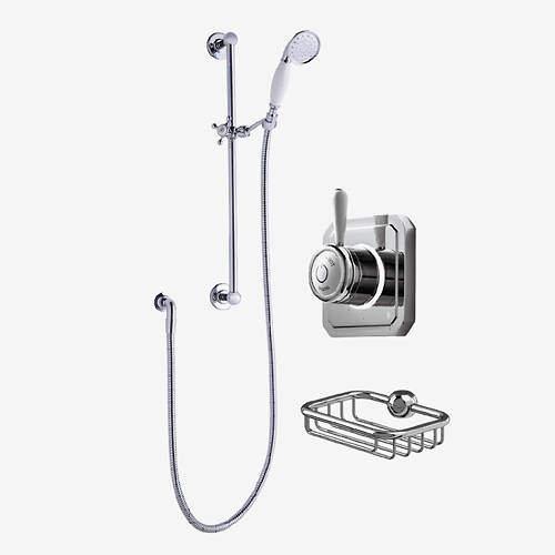 Digital Showers Digital Shower Valve, Processor, Slide Rail Kit & Basket (LP).