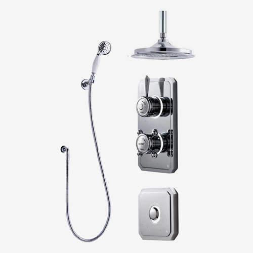 "Digital Showers Twin Digital Shower Pack, Spray Kit, 9"" Head & Remote (LP)."