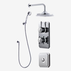 "Digital Showers Twin Digital Shower Pack, Spray Kit, 9"" Head & Remote (LP)."