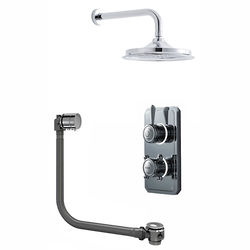 "Digital Showers Twin Digital Shower Pack With Bath Filler & 9"" Head (LP)."