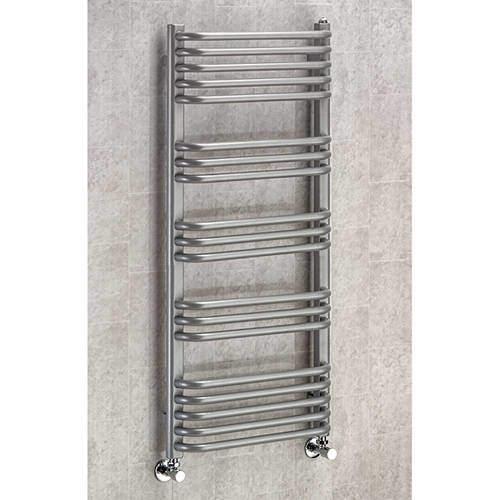 COLOUR Heated Towel Rail & Wall Brackets 1100x600 (Grey Aluminium).
