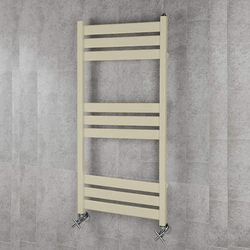 COLOUR Heated Towel Rail & Wall Brackets 1080x500 (Light Ivory).
