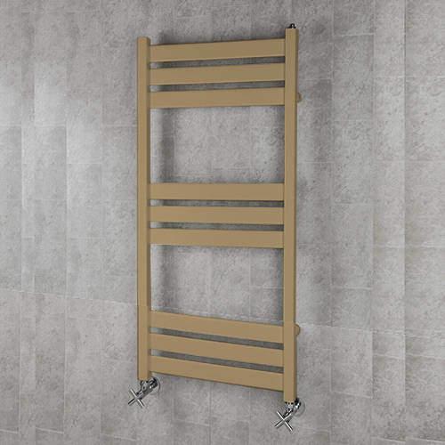 COLOUR Heated Towel Rail & Wall Brackets 1080x500 (Grey Beige).