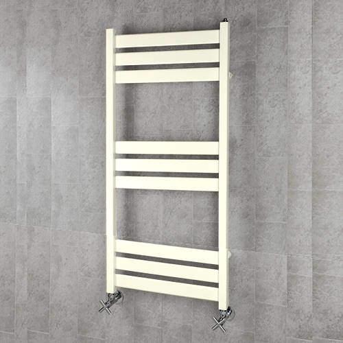 COLOUR Heated Towel Rail & Wall Brackets 1080x500 (Cream).