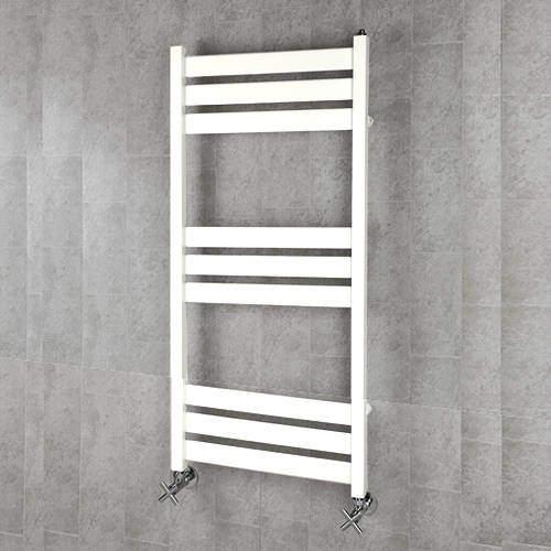 COLOUR Heated Towel Rail & Wall Brackets 1080x500 (Pure White).