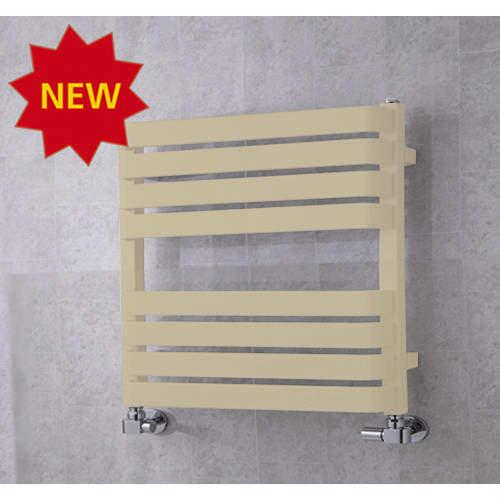 COLOUR Heated Towel Rail & Wall Brackets 655x500 (Light Ivory).