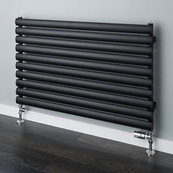 COLOUR Tallis Horizontal Radiator 600x1020mm (Jet Black, 2296 BTUs).
