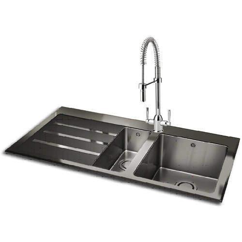 Carron Phoenix  Silhouette 150 Kitchen Sink 1000x535mm (S Steel, LH).