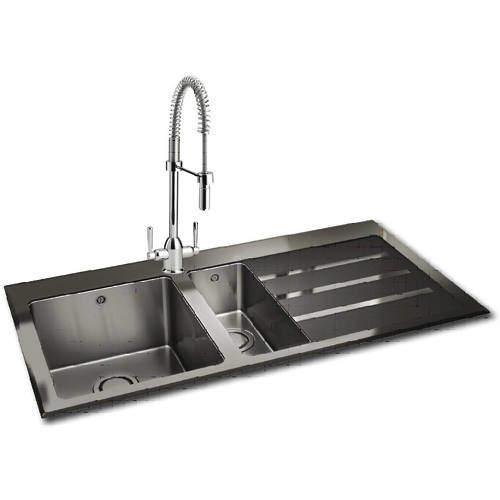 Carron Phoenix  Silhouette 150 Kitchen Sink 1000x535mm (S Steel, RH).