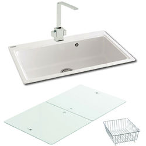 Single Bowl Granite Sink & White Glass 802x520mm (White). Carron ...