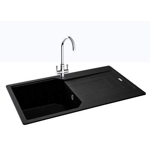 Carron Phoenix  Aruba Single Bowl Granite Sink 860x500mm (Jet Black).