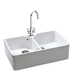 Carron Phoenix  Belfast Sink 800x490mm With Two Bowls (White Ceramic).