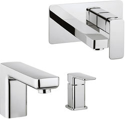 Crosswater Atoll Wall Mounted Basin & 2 Hole BSM Tap Pack (Chrome).