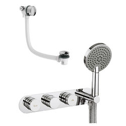 Crosswater Dial Central Thermostatic Shower & Bath Valve, Handset & Filler.