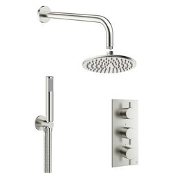 Crosswater MPRO 2 Outlet 3 Handle Shower Bundle (Brushed Steel).