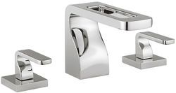 Crosswater KH Zero 1 3 Hole Basin Mixer Tap With Lever Handles (Chrome).