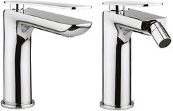 Crosswater KH Zero 2 Basin & Bidet Mixer Taps Pack With Lever Handles.