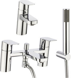 Crosswater KH Zero 6 Basin & Bath Shower Mixer Tap Pack With Kit (Chrome).