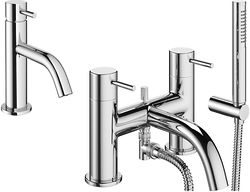 Crosswater Mike Pro Basin Mixer & Bath Shower Mixer Tap Pack (Chrome).