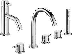 Crosswater Mike Pro Basin & 5 Hole Bath Shower Mixer Tap Pack (Chrome).