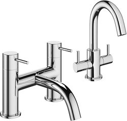 Crosswater Mike Pro Mono Basin Mixer & Bath Filler Tap Pack (Chrome).