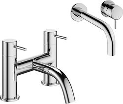 Crosswater Mike Pro Wall Mounted Basin & Bath Filler Tap Pack (Chrome).