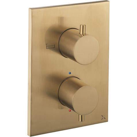 Crosswater MPRO Crossbox 2 Outlet Shower / Bath Valve (Brushed Brass).