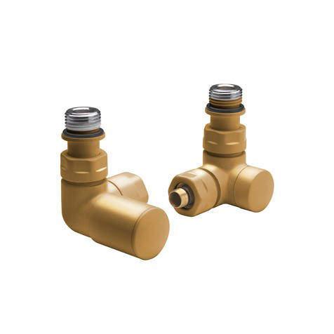 Crosswater MPRO Angled Radiator Valves (Brushed Brass).