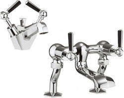 Crosswater Waldorf Basin Mixer & Bath Filler Tap Pack (Black Lever Handles).