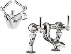 Crosswater Waldorf Basin Mixer & Bath Filler Tap Pack (Chrome Lever Handles).