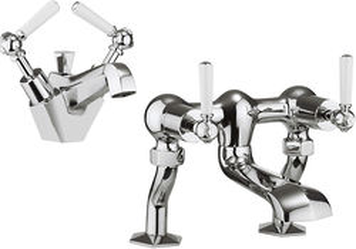 Crosswater Waldorf Basin Mixer & Bath Filler Tap Pack (White Lever Handles).