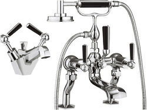 Crosswater Waldorf Basin & Bath Shower Mixer Tap Pack (Black Handles).