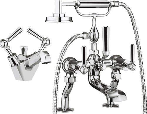 Crosswater Waldorf Basin & Bath Shower Mixer Tap Pack (Chrome Handles).