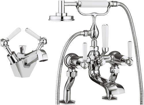 Crosswater Waldorf Basin & Bath Shower Mixer Tap Pack (White Handles).